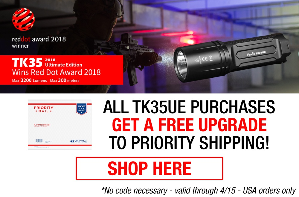 Fenix TK35 Ultimate Edition 2018 LED Tactical Flashlight RED DOT Award Winner 2018