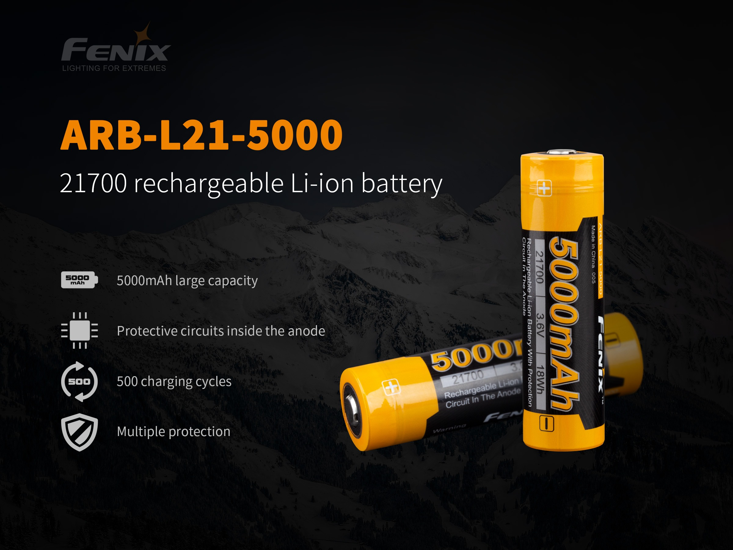 Fenix Rechargeable 21700 Li-ion Battery - 5000 mAh