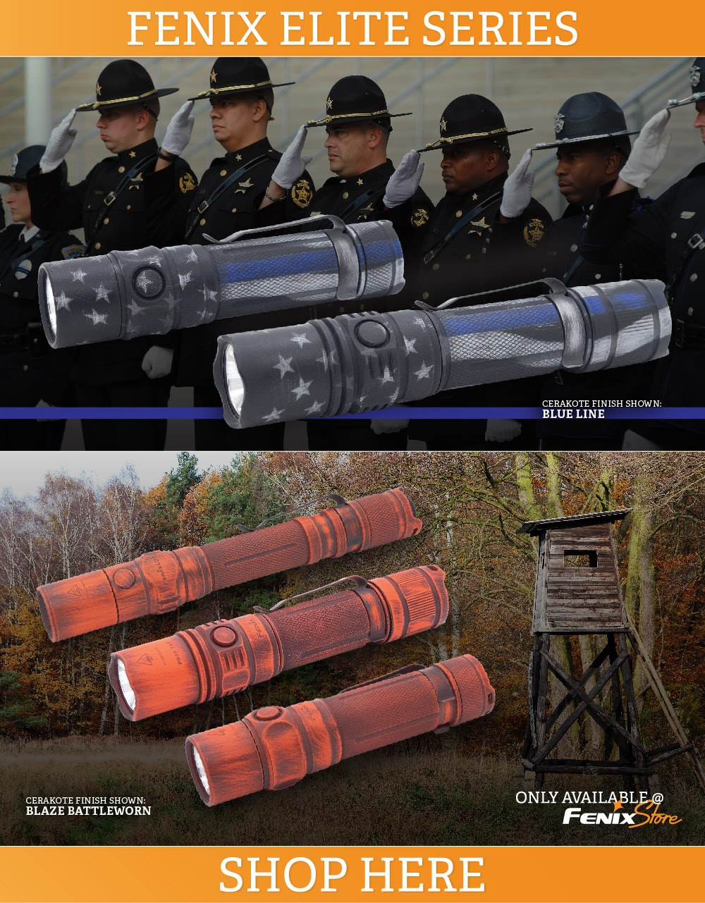 Fenix Flashlights - Cerakoted Blue Line and Orange Blaze