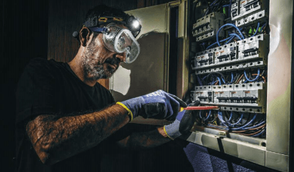 using a headlamp for electrical work