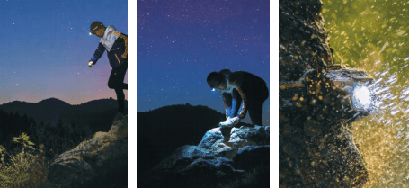 using a headlamp when hiking in the dark