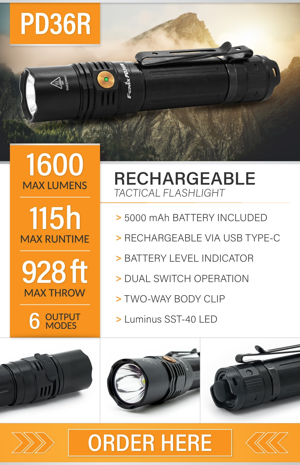Fenix PD36R Tactical Flashlight
