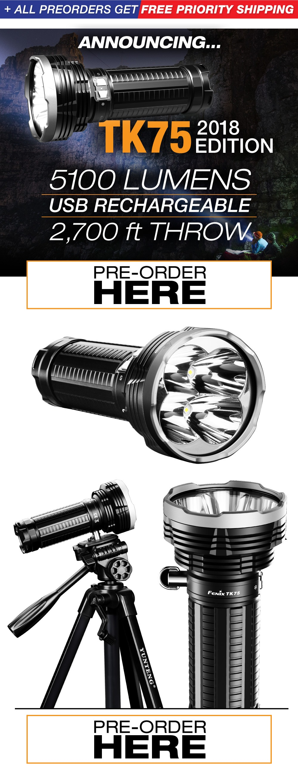 Fenix TK75 LED Flashlight 2018 Edition 5100 Lumens