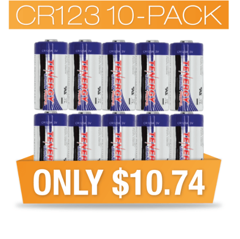 10 pack of CR123A Tenergy batteries
