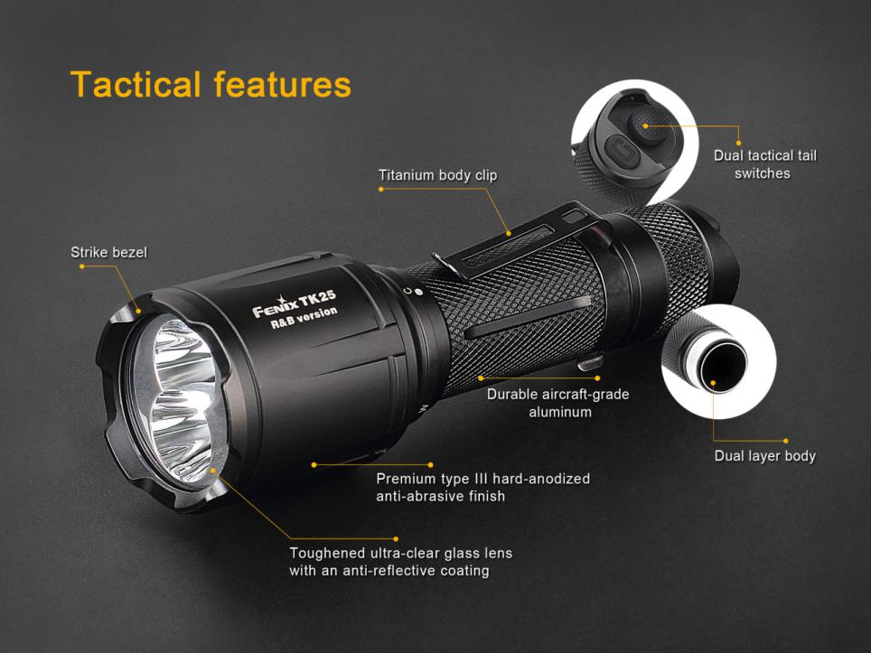 Fenix TK25RB Multi-Color Tactical LED Flashlight Features