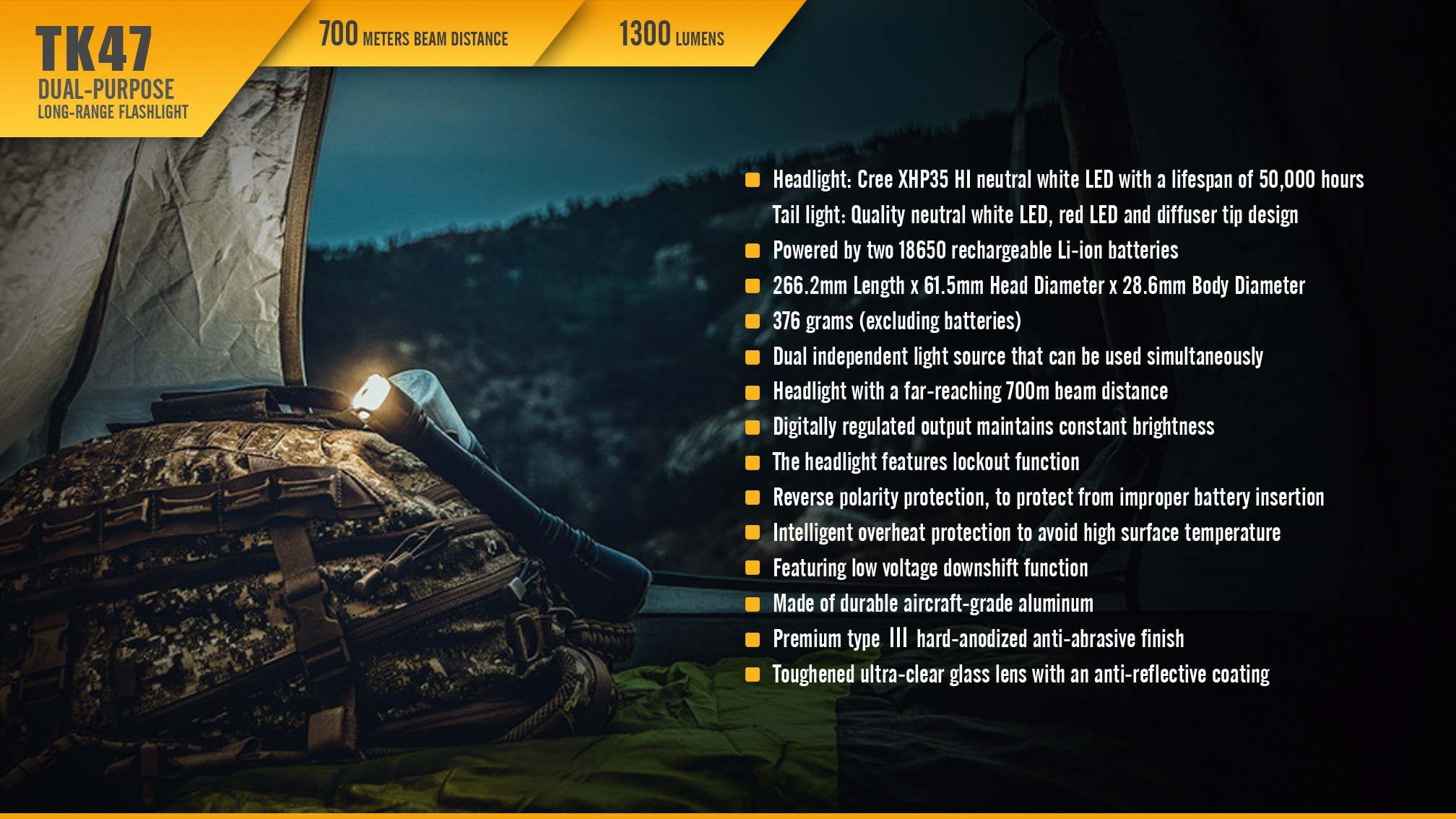 Fenix TK47 Dual-Purpose LED Flashlight Specifications