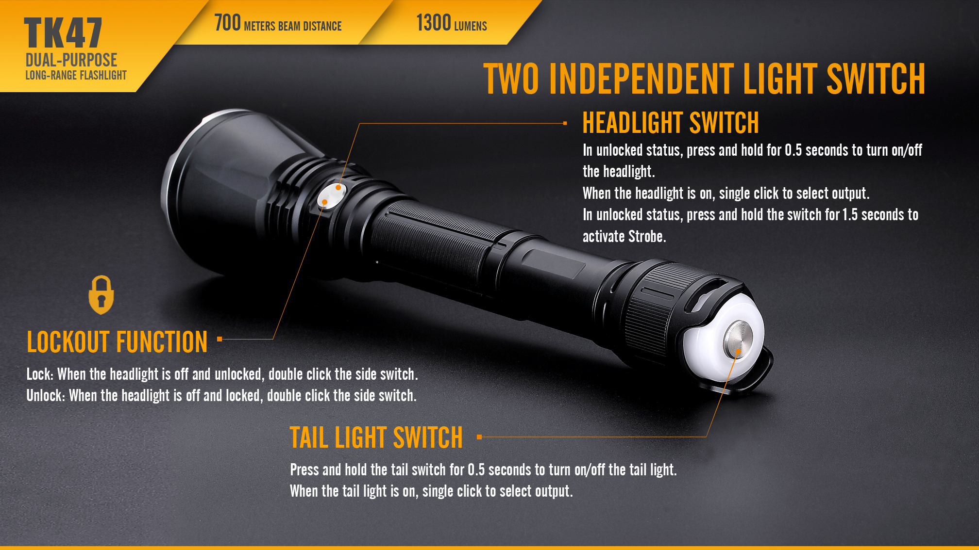 Fenix TK47 Dual-Purpose LED Flashlight Independent Switches