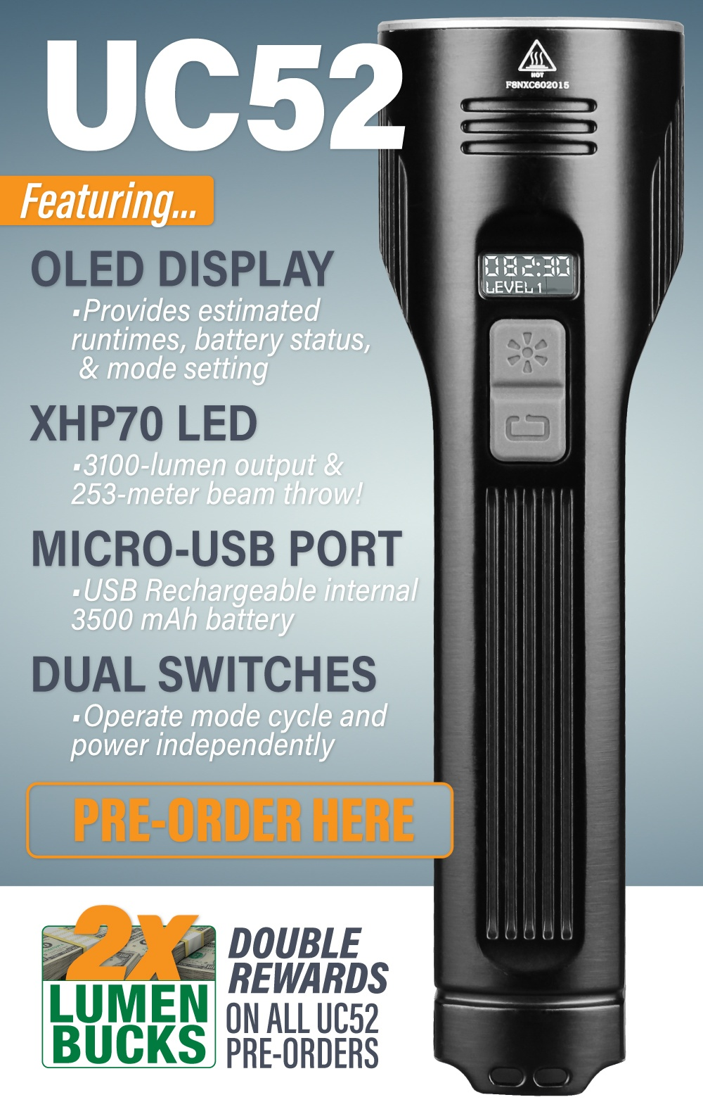 Fenix UC52 rechargeable Flashlight